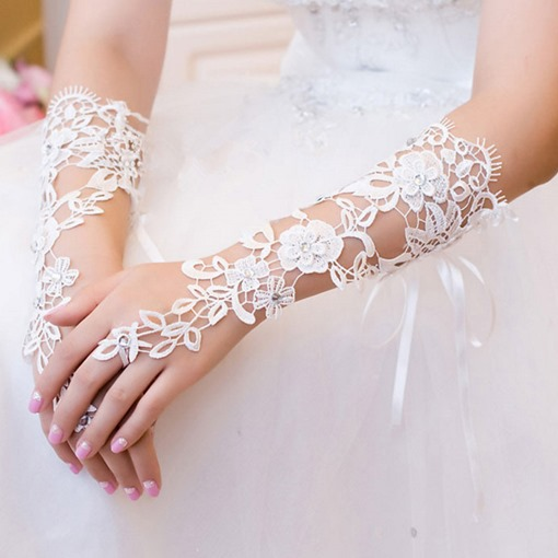 Beading Lace Elbow Wedding Gloves