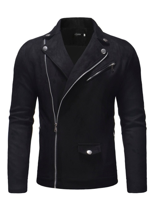 Slim Zipper Lapel Plain Men's Jacket