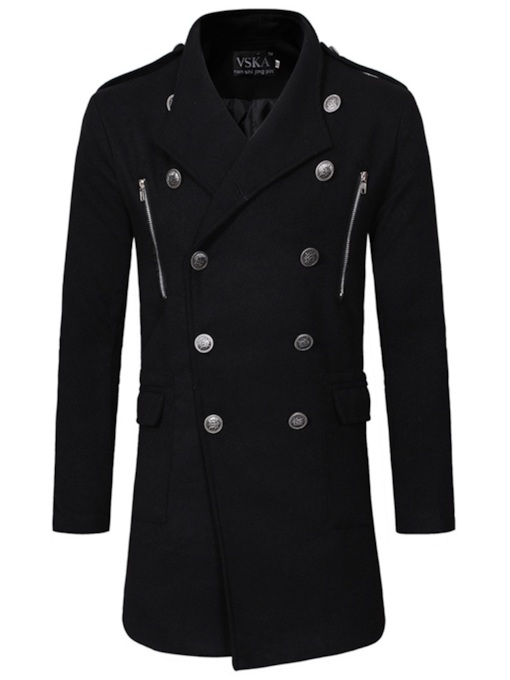 Lapel Plain Mid-Length Zipper Double-Breasted Men's Trench Coat