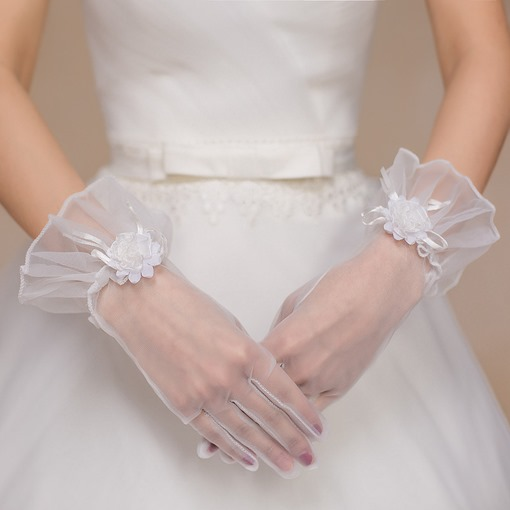 Wrist Flower Finger Short Wedding Gloves