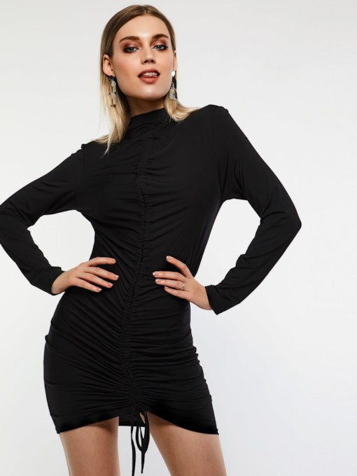 Asymmetric Long Sleeve Pullover Plain Women's Bodycon Dress