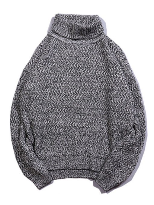 Loose Standard Plain Turtleneck Men's Sweater
