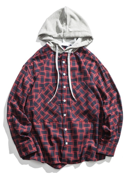 Hooded Patchwork Plaid Men's Shirt