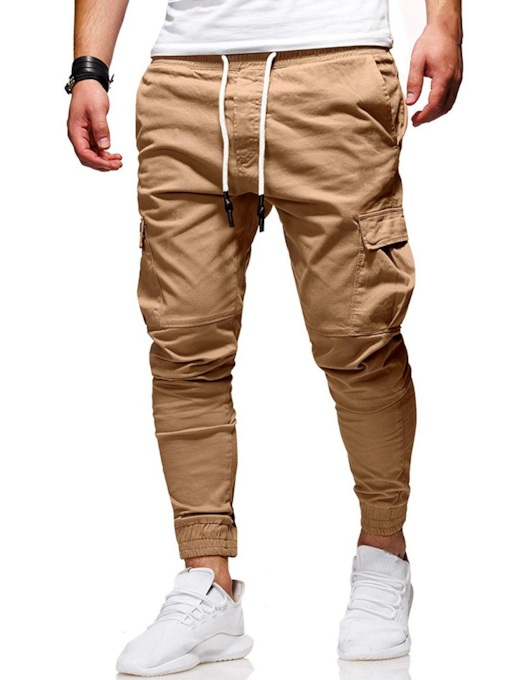 Lace-Up Slim Plain Men's Casual Pants