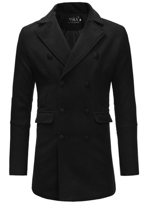 Straight Double-Breasted Mid-Length Men's Woolen Coat