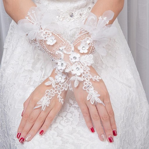 3D Flowers Beading Wrist Wedding Gloves