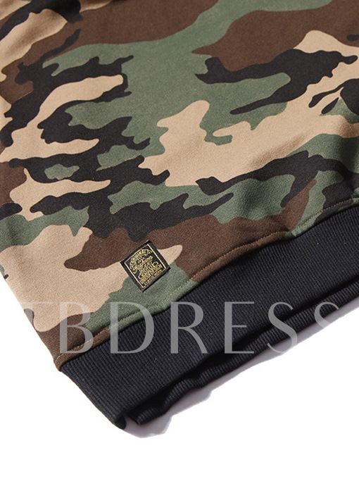 Camouflage Patchwork Pullover Men's Hoodie