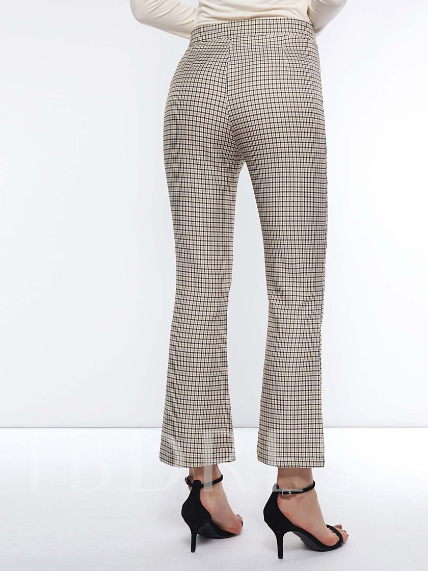 Plaid Stringy Selvedge Loose Button High-Waist Women's Casual Pants