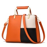 PU Color Block Shell Tote Bags