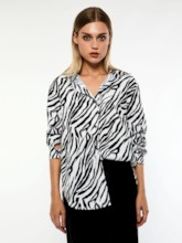 Zebra Stripe Loose Long Sleeve Women's Shirt