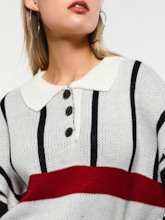 Loose Polo Neck Color Block Women's Sweater