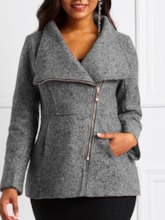 Mottled Wide-Lapel Side Zipper Women's Overcoat