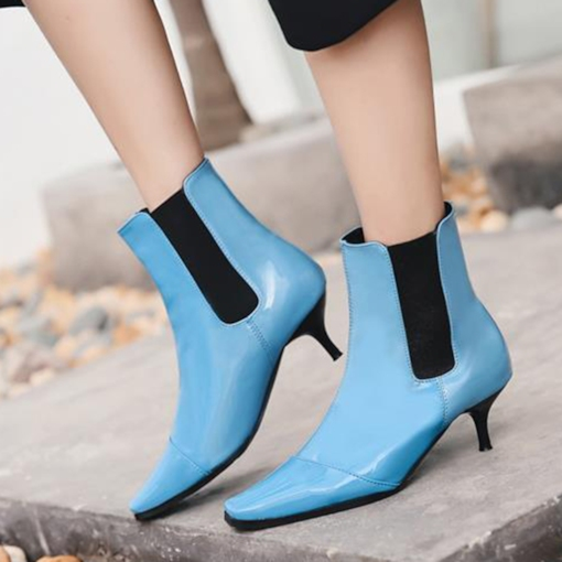 Patchwork Elastic Stiletto Heel Square Toe Chic Women's Chelsea Boots