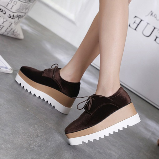 Square Toe Low-Cut Upper Lace-Up Platform Plain Trendy Sneakers