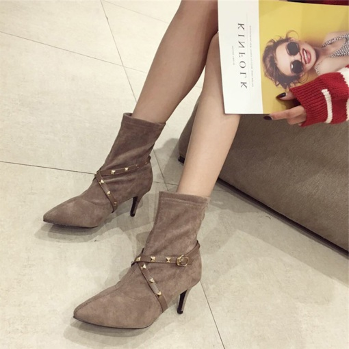 Slip-On Pointed Toe Stiletto Heel Patchwork Trendy Ankle Boots