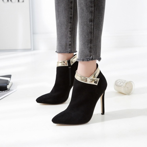 Pointed Toe Patchwork Stiletto Heel Side Zipper PU Stylish Ankle Boots