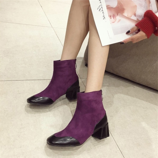 Patchwork Square Toe Chunky Heel Back Zip Fashion Ankle Boots
