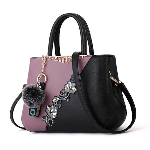 PU Floral Embroidery Barrel-Shaped Tote Bags