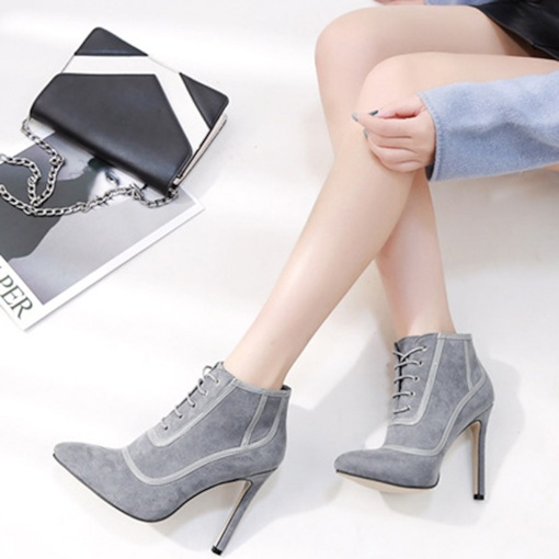 Plain Stiletto Heel Lace-Up Front Pointed Toe Women's Ankle Boots