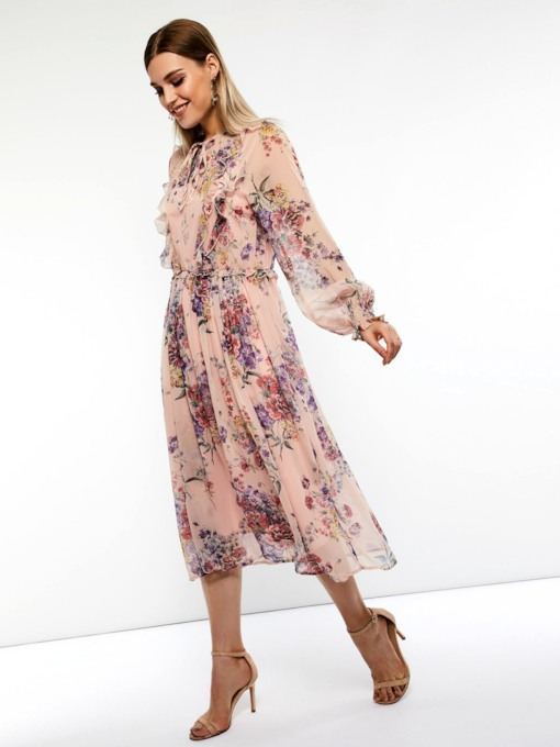 Long Sleeve Lace-Up Women's Maxi Dress