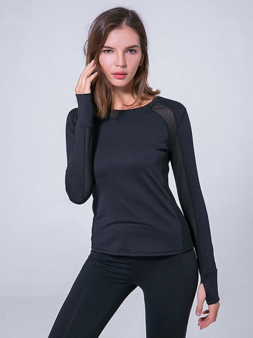 Solid Side Mesh Quick Dry Breathable Women's Top