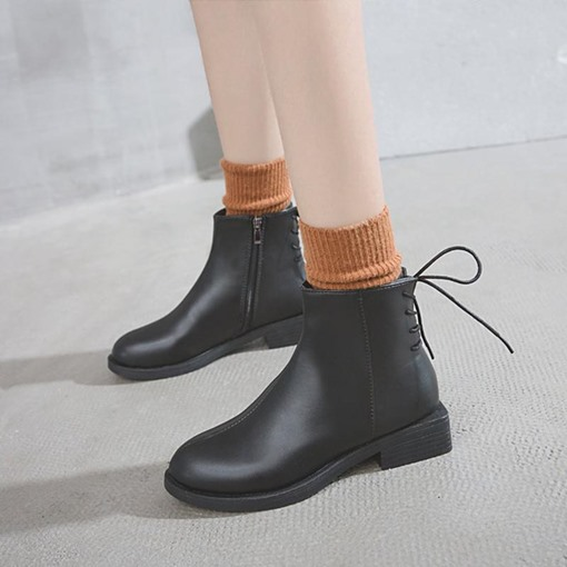 Block Heel Round Toe Side Zipper Short Floss Classical Ankle Boots
