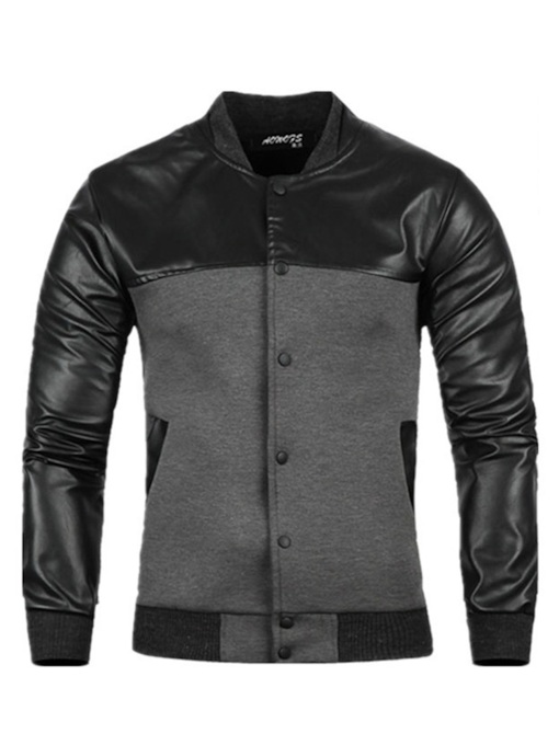 Faux Leather Patchwork Slim Stand Collar Men's Jacket