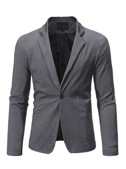 Notched Lapel Slim Plain One Button Men's Blazer