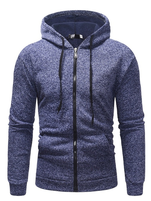 Cardigan Plain Straight Zipper Casual Men's Hoodie