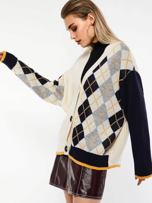 Single-Breasted Color Block Plaid Women's Cardigan