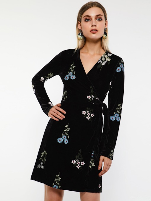 V-Neck Print Floral Women's Long Sleeve Dress