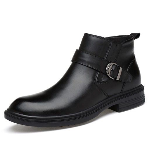 Plain Round Toe Side Zipper Versatile Men's Boots