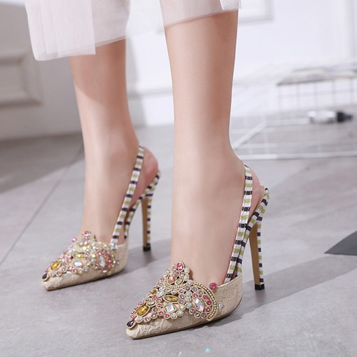 Slip-On Slingback Strap Stiletto Heel Pointed Toe Women's Prom Shoes