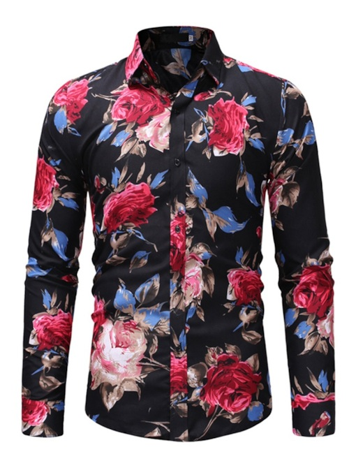 Lapel Print Casual Floral Fall Men's Shirt