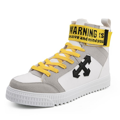 Lace-Up High Top Patchwork Round Toe Chic Men's Skate Shoes