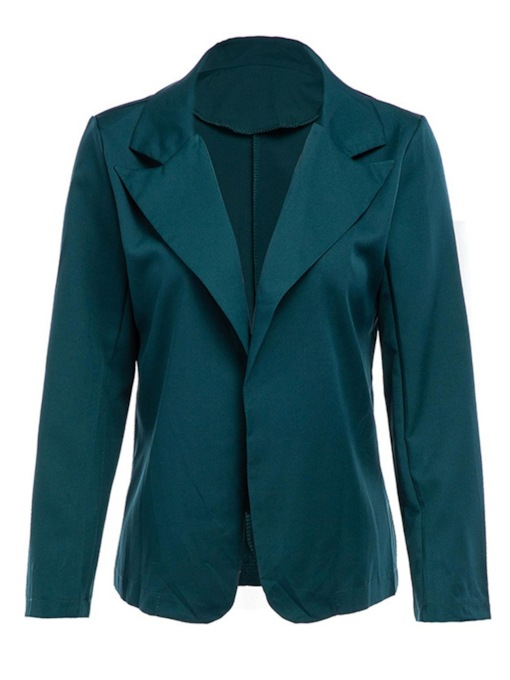 Plain Notched Lapel Long Sleeve Fall Women's Casual Blazer