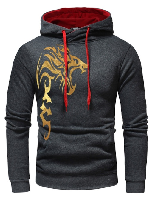 Color Block Print Pullover Men's Hoodie