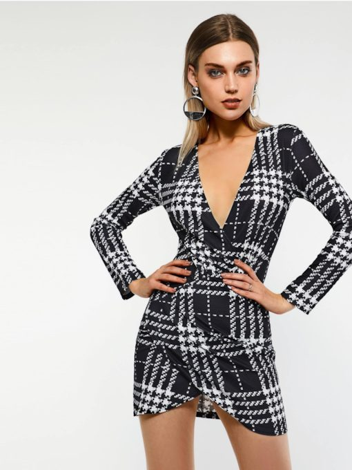 V-Neck Bodycon Plaid Women's Long Sleeve Dress