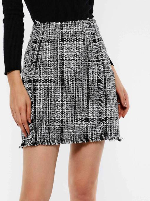 Zipper Plaid Bodycon Ladylike Women's Mini Skirt