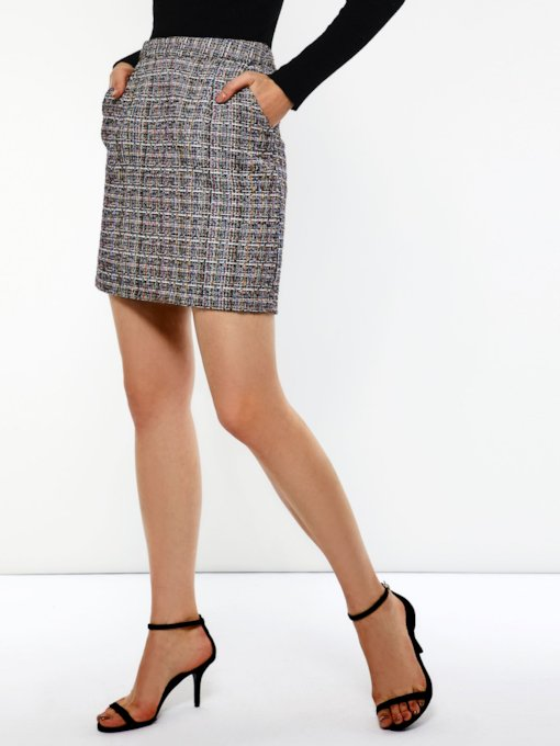 Pocket Bodycon Color Block Women's Mini Skirt