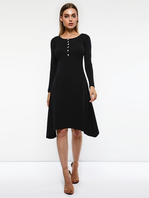 Single-Breasted Elegant Women's Long Sleeve Dress