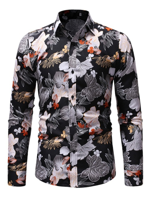 Print Lapel Floral Casual Slim Men's Shirt