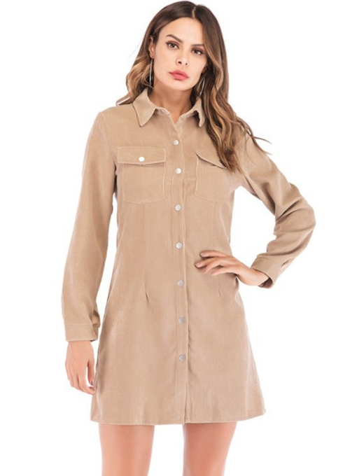 Single-Breasted Button Women's Long Sleeve Dress