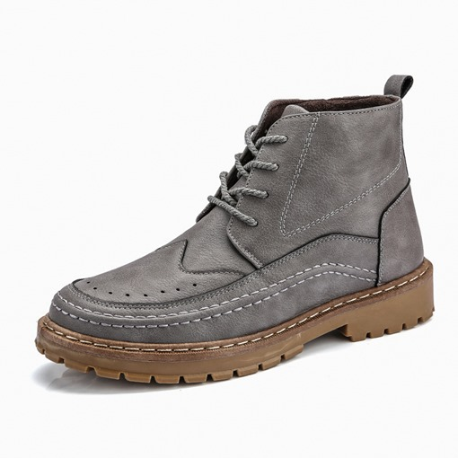Round Toe Plain Lace-Up Front Chic Men's Martin Boots