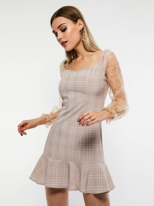 See-Through Pullover Plain Women's Party Dress