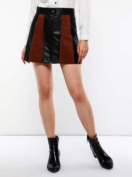 Patchwork High-Waist A-Line Color Block Women's Skirt