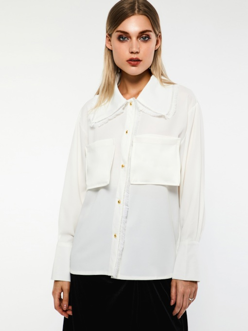Wide-Lapel Plain Dual Pockets Women's Blouse