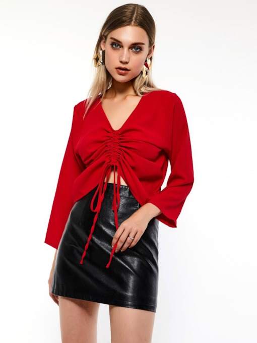 Tie Front Shirt and PU Skirt Women's Two Piece Sets