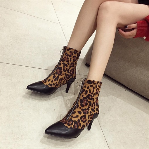 Front Zipper Leopard Patchwork Stiletto Heel Pointed Toe Ankle Boots