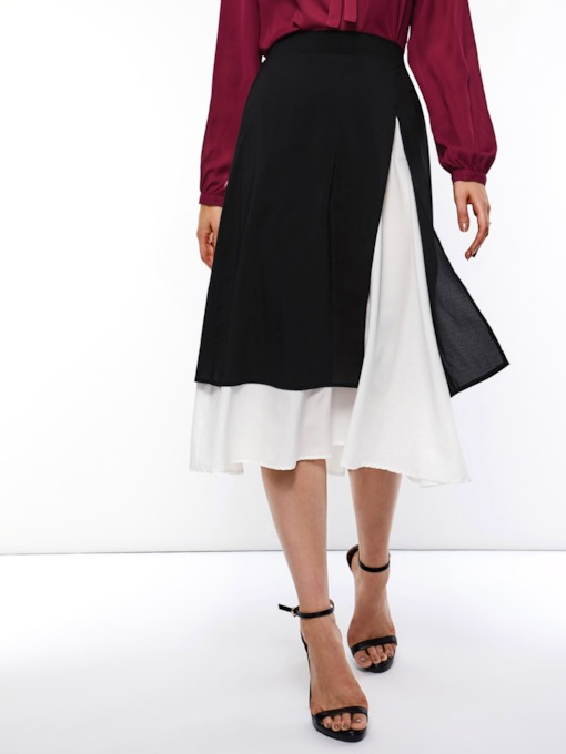 Mid-Calf Split Asymmetrical Plain Women's Skirt